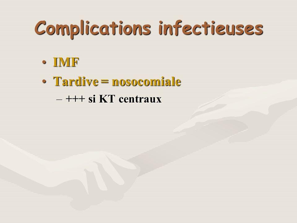 Complications infectieuses IMFIMF Tardive = nosocomialeTardive = nosocomiale –+++ si KT centraux