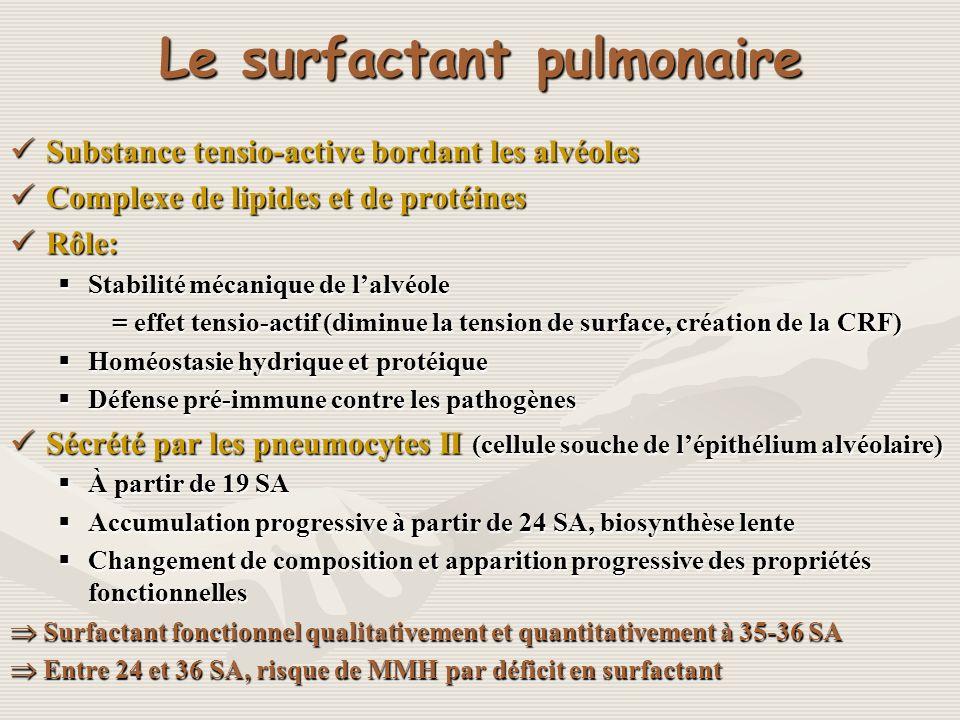 Le surfactant pulmonaire Substance tensio-active bordant les alvéoles Substance tensio-active bordant les alvéoles Complexe de lipides et de protéines