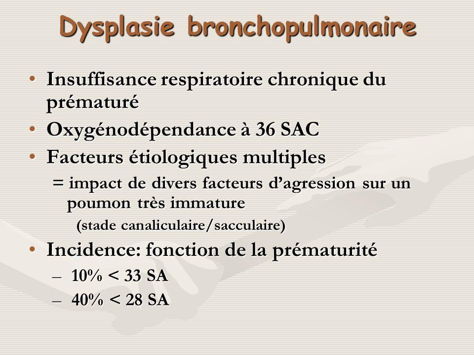 Dysplasie bronchopulmonaire Insuffisance respiratoire chronique du prématuréInsuffisance respiratoire chronique du prématuré Oxygénodépendance à 36 SA