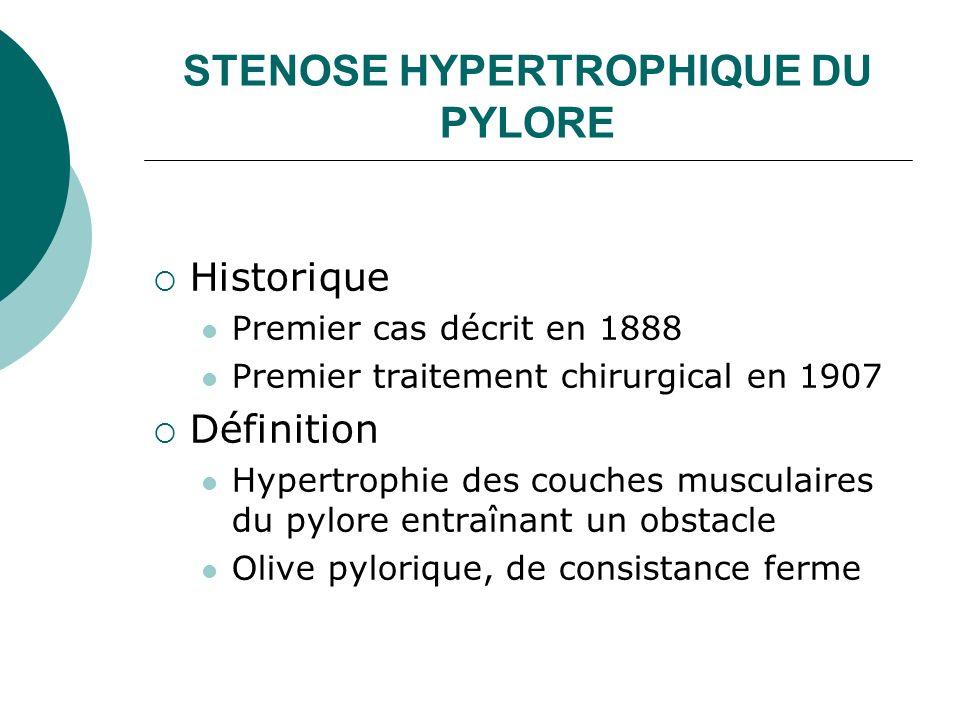 Historique Premier cas décrit en 1888 Premier traitement chirurgical en 1907 Définition Hypertrophie des couches musculaires du pylore entraînant un o