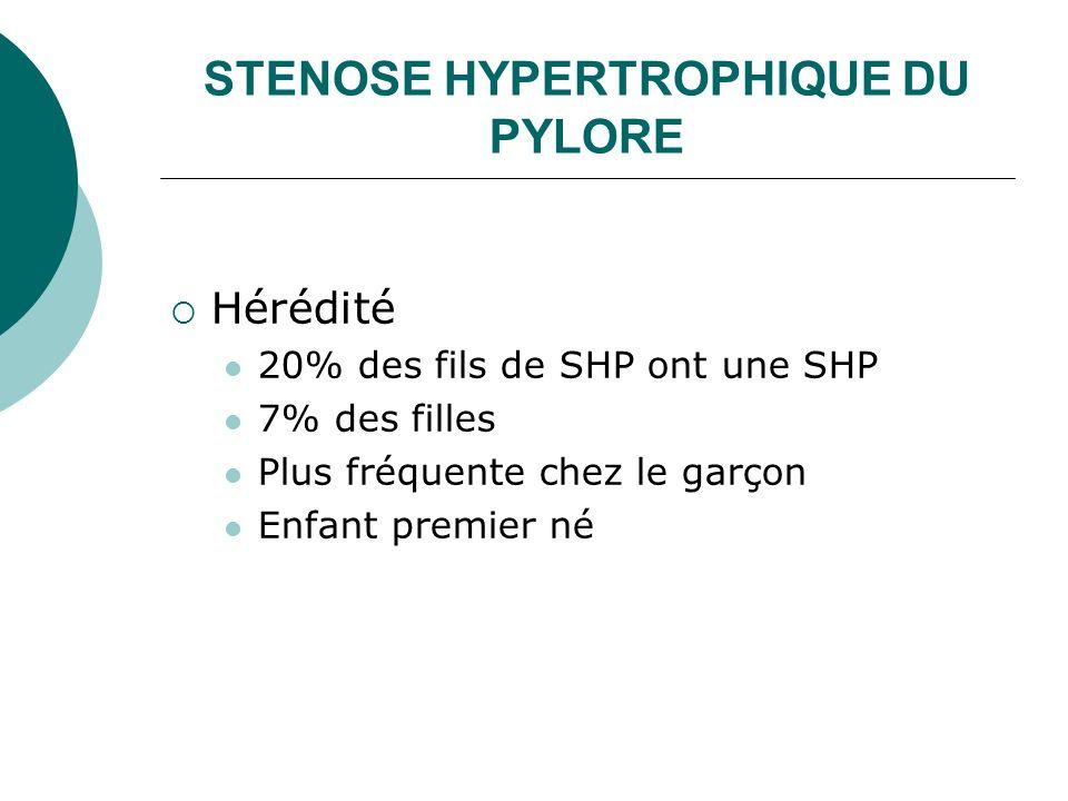 STENOSE HYPERTROPHIQUE DU PYLORE Hérédité 20% des fils de SHP ont une SHP 7% des filles Plus fréquente chez le garçon Enfant premier né