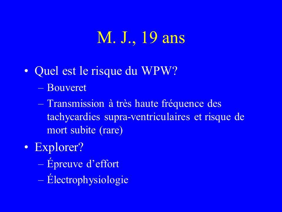 M. J., 19 ans Quel est le risque du WPW? –Bouveret –Transmission à très haute fréquence des tachycardies supra-ventriculaires et risque de mort subite