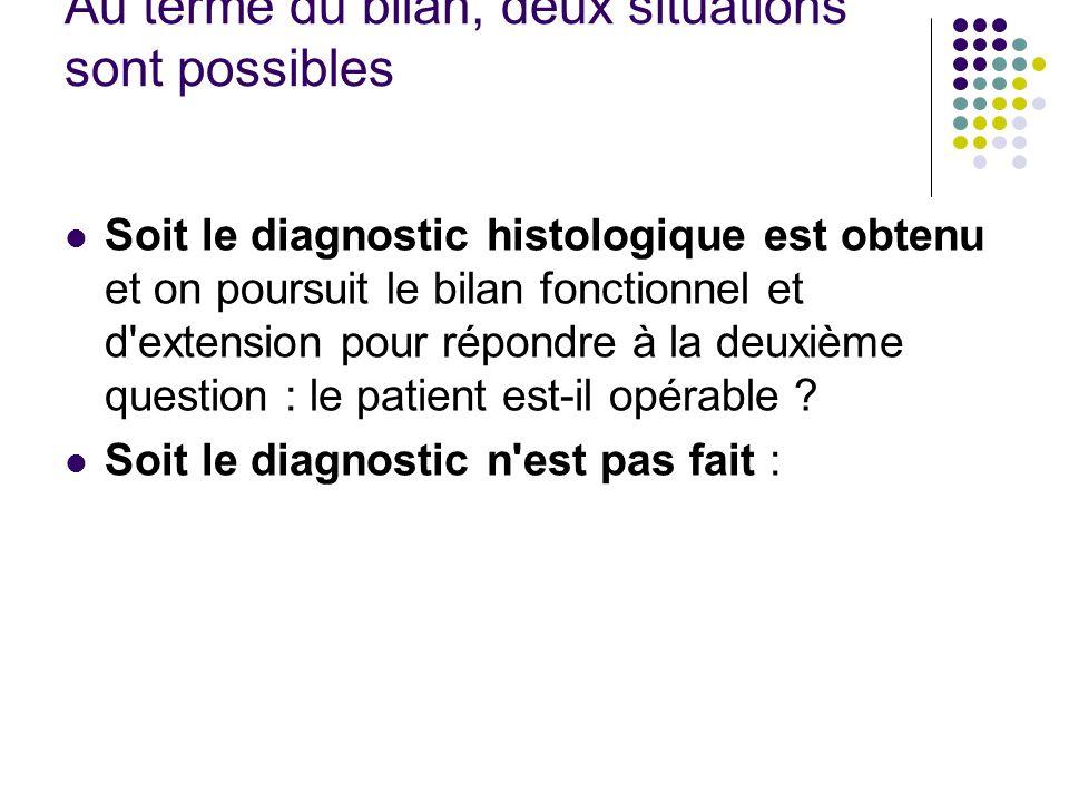 Au terme du bilan, deux situations sont possibles Soit le diagnostic histologique est obtenu et on poursuit le bilan fonctionnel et d'extension pour r