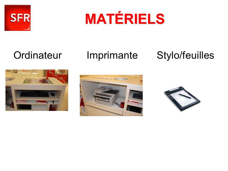 MATÉRIELS Ordinateur Imprimante Stylo/feuilles
