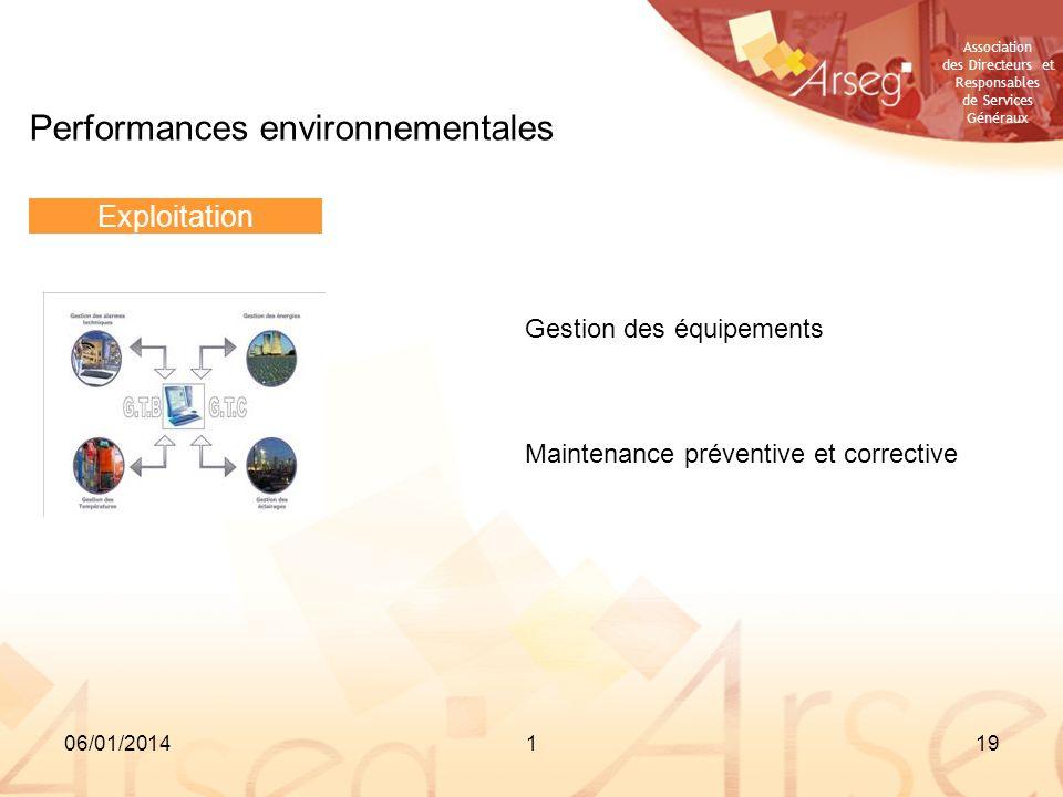 Association des Directeurs et Responsables de Services Généraux 06/01/2014119 Performances environnementales Exploitation Gestion des équipements Main
