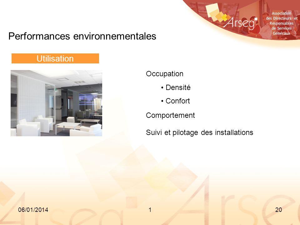 Association des Directeurs et Responsables de Services Généraux 06/01/2014120 Performances environnementales Utilisation Occupation Densité Confort Co
