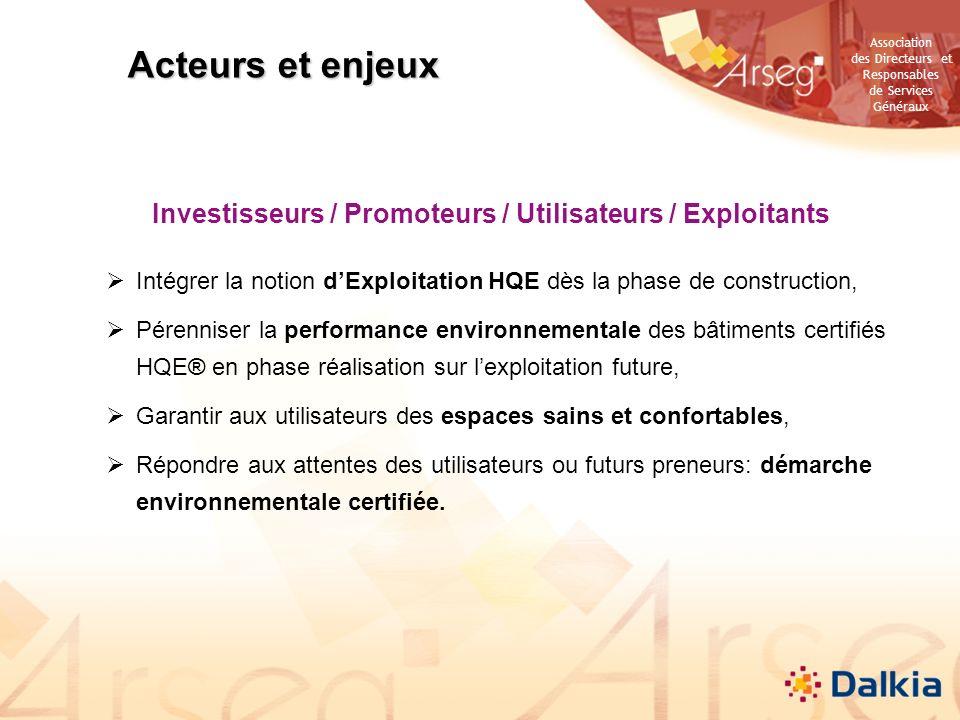 Association des Directeurs et Responsables de Services Généraux Investisseurs / Promoteurs / Utilisateurs / Exploitants Intégrer la notion dExploitati