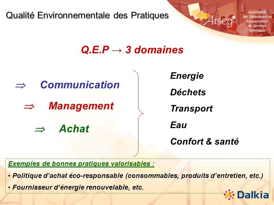 Association des Directeurs et Responsables de Services Généraux Q.E.P 3 domaines Qualité Environnementale des Pratiques Communication Management Achat