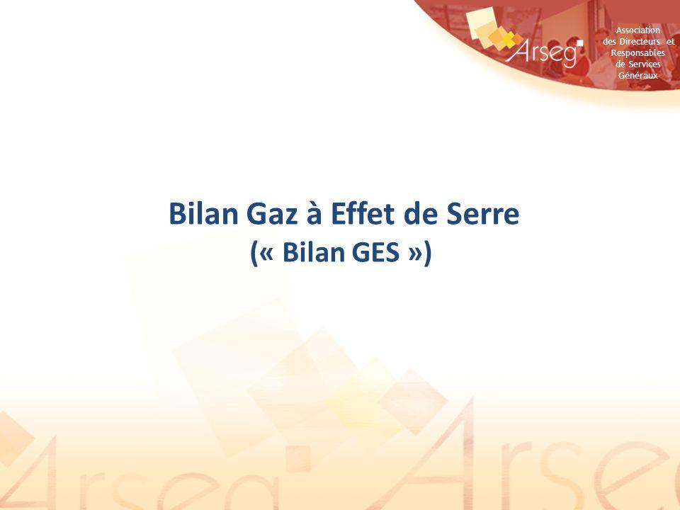 Association des Directeurs et Responsables de Services Généraux Bilan Gaz à Effet de Serre (« Bilan GES »)