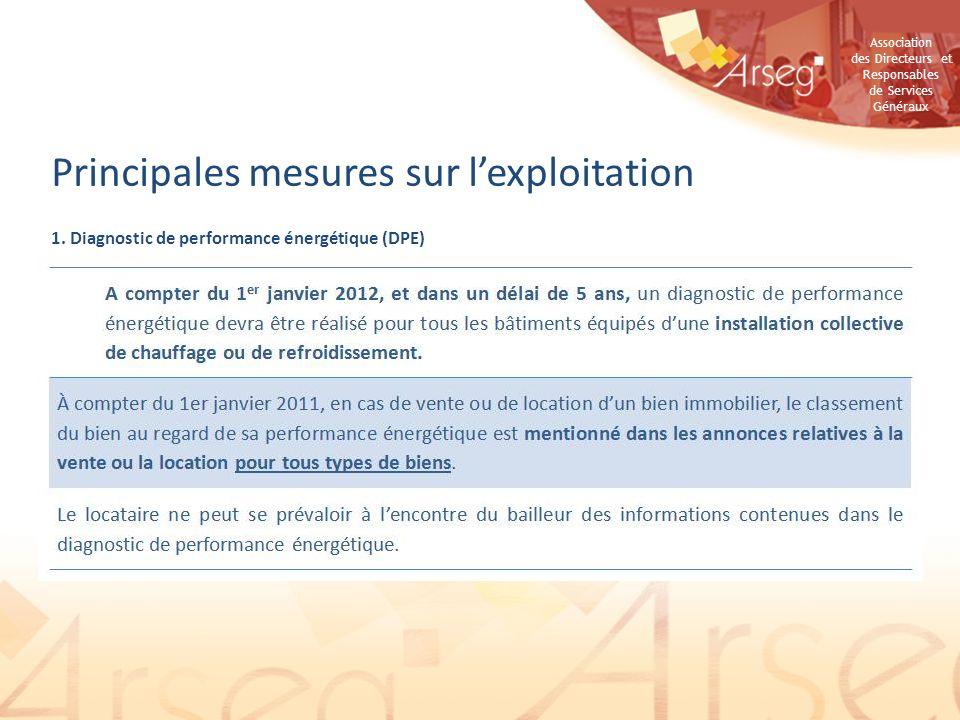Association des Directeurs et Responsables de Services Généraux 1. Diagnostic de performance énergétique (DPE) Principales mesures sur lexploitation