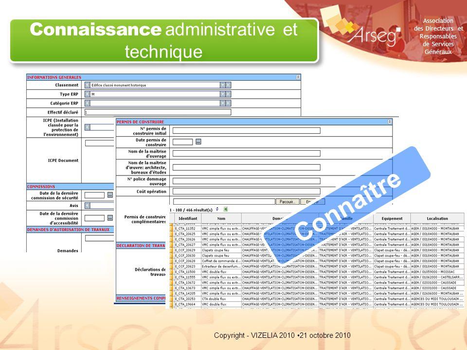 Association des Directeurs et Responsables de Services Généraux Connaissance administrative et technique Connaître 21 octobre 2010Copyright - VIZELIA