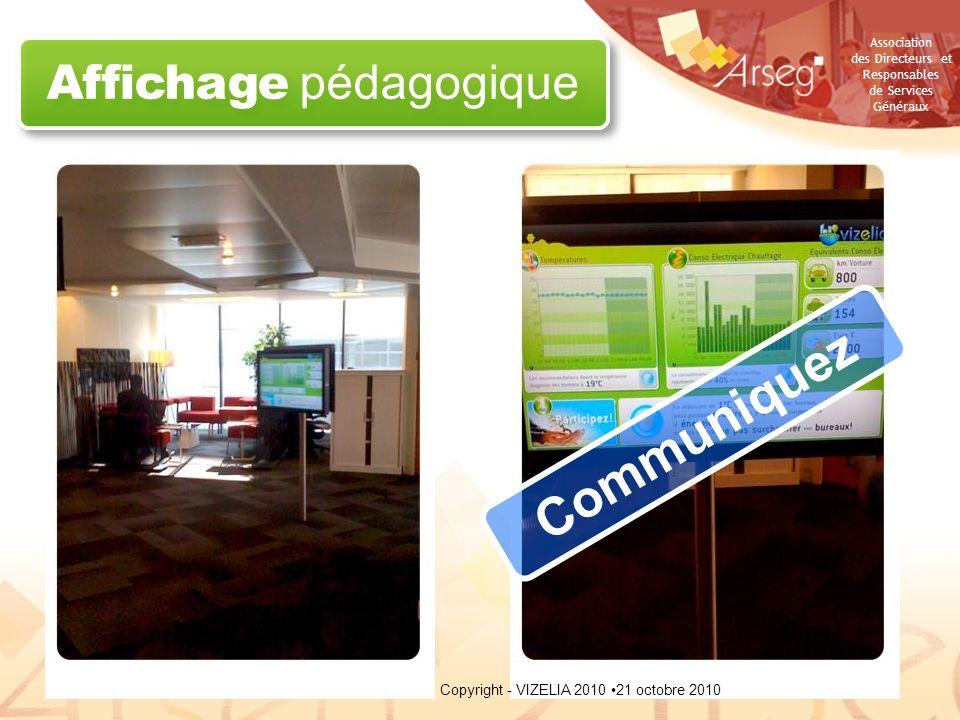 Association des Directeurs et Responsables de Services Généraux Affichage pédagogique Communiquez 21 octobre 2010Copyright - VIZELIA 2010