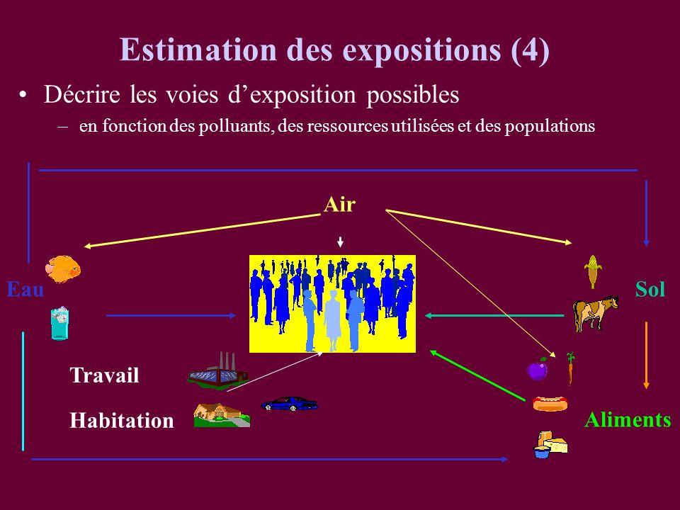Décrire les voies dexposition possibles –en fonction des polluants, des ressources utilisées et des populations Air EauSol Aliments Habitation Estimat
