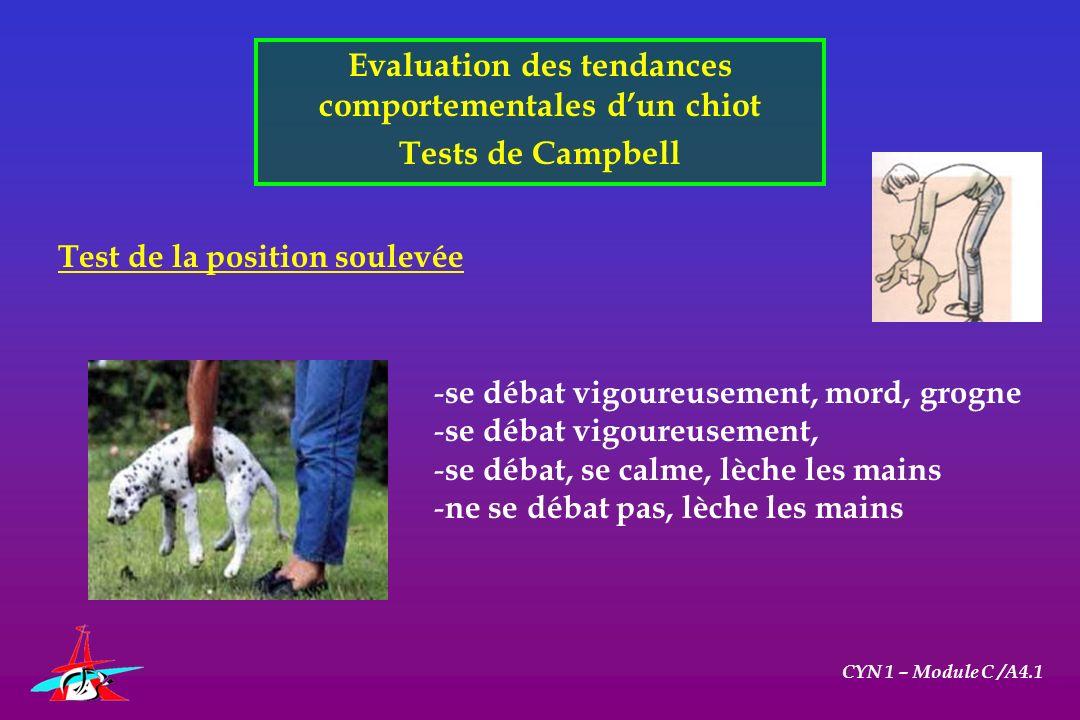 Evaluation des tendances comportementales dun chiot Tests de Campbell CYN 1 – Module C /A4.1 Test de la position soulevée - se débat vigoureusement, m