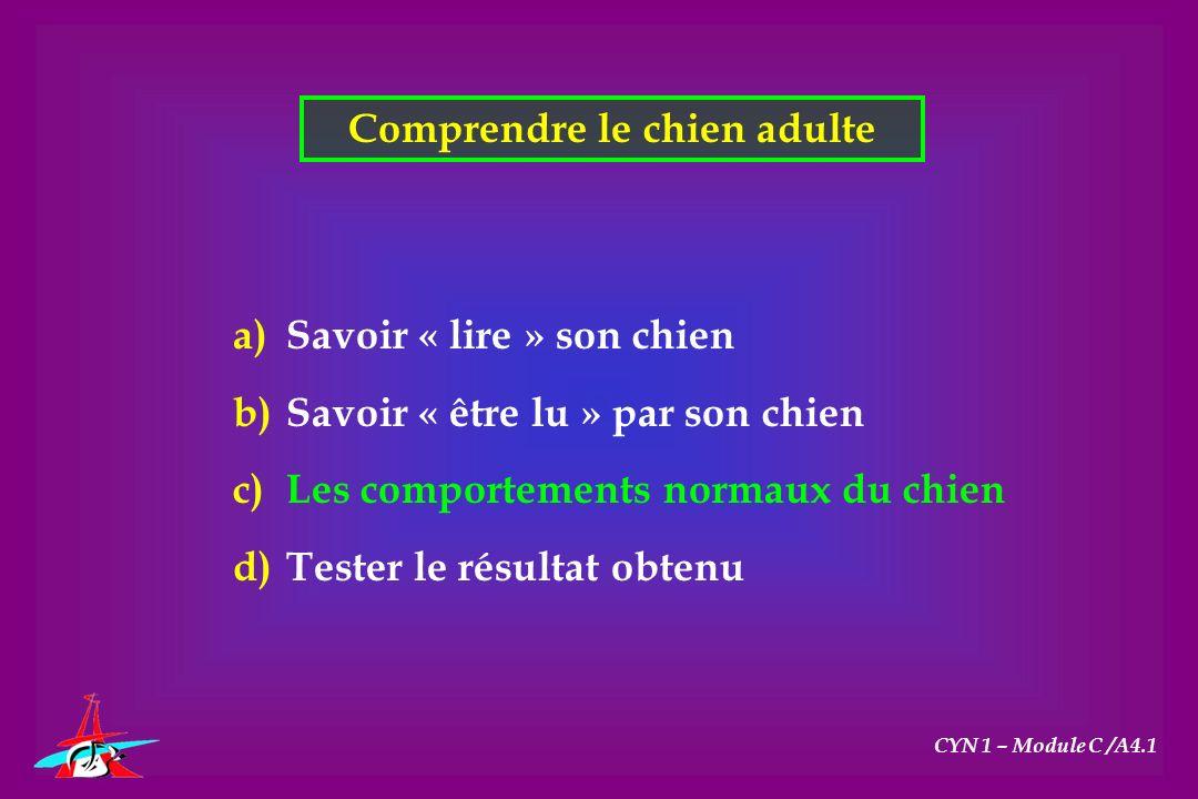 CYN 1 – Module C /A4.1 Comprendre le chien adulte a)Savoir « lire » son chien b)Savoir « être lu » par son chien c)Les comportements normaux du chien