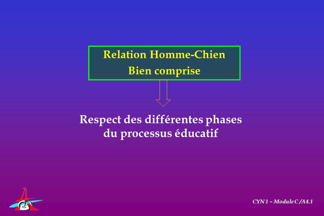 Relation Homme-Chien Bien comprise CYN 1 – Module C /A4.1 Respect des différentes phases du processus éducatif