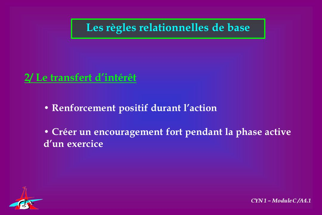 Les règles relationnelles de base CYN 1 – Module C /A4.1 2/ Le transfert dintérêt Renforcement positif durant laction Créer un encouragement fort pend