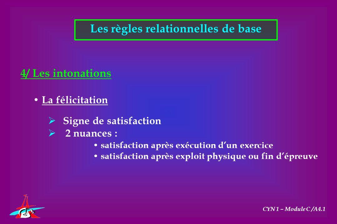 Les règles relationnelles de base CYN 1 – Module C /A4.1 4/ Les intonations La félicitation Signe de satisfaction 2 nuances : satisfaction après exécu