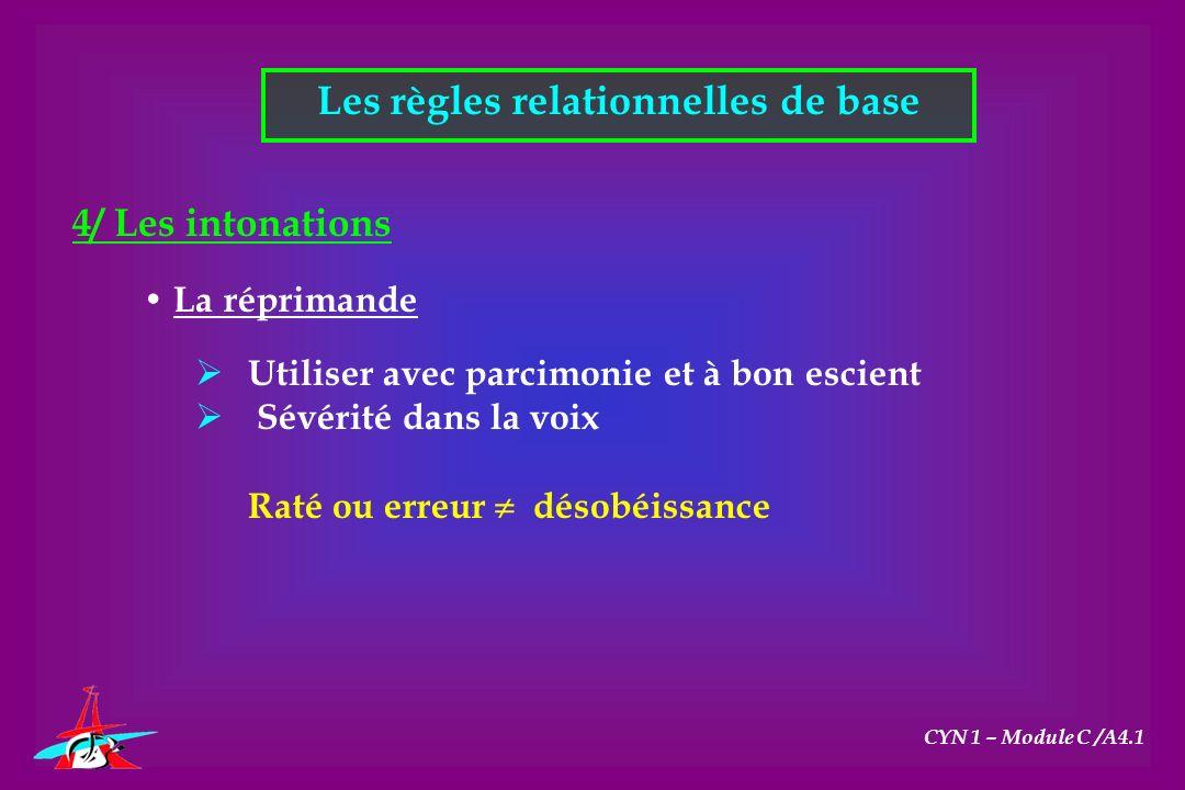 Les règles relationnelles de base CYN 1 – Module C /A4.1 4/ Les intonations La réprimande Utiliser avec parcimonie et à bon escient Sévérité dans la v