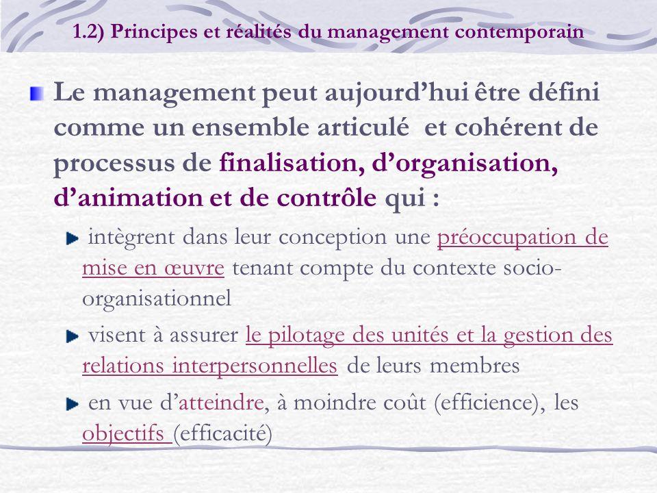 Le management peut aujourdhui être défini comme un ensemble articulé et cohérent de processus de finalisation, dorganisation, danimation et de contrôl