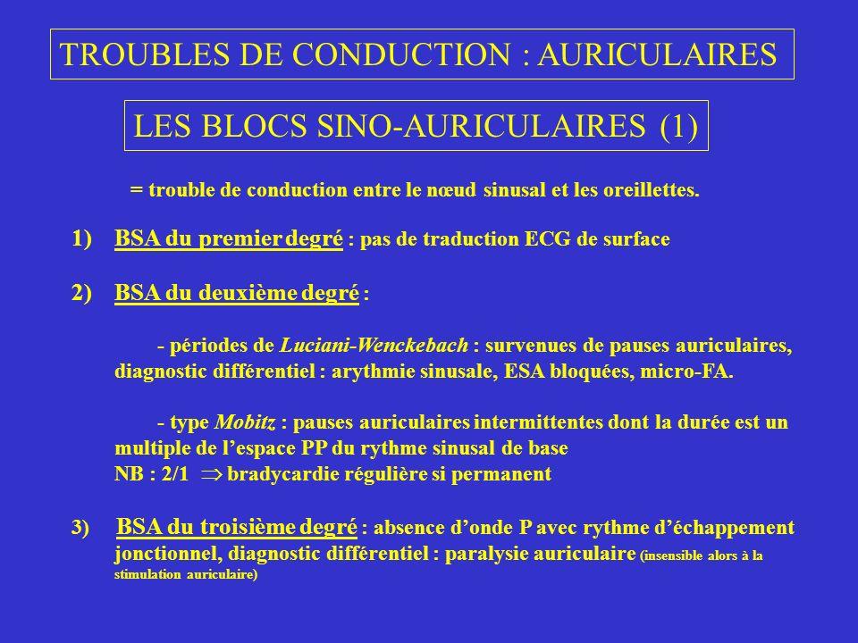 TROUBLES DE CONDUCTION : AURICULAIRES LES BLOCS SINO-AURICULAIRES (1) = trouble de conduction entre le nœud sinusal et les oreillettes. 1)BSA du premi