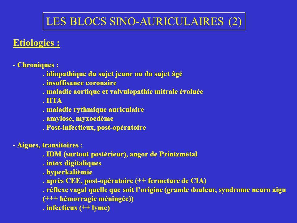 LES BLOCS AURICULO-VENTRICULAIRES (1) 1)Le BAV du premier degré : ralentissement conduction nœud A-V PR > 0.20s, nombre de P = nombre de QRS NB : parfois PR ++ long onde P dans le QRS précédent (faire MSC) en règle asymptomatique (sauf P dans QRS pouls jugulaire) 2)Le BAV du deuxième degré : interruption intermittente de la conduction A-V A) type Luciani-Wenckebach : allongement progressif de PR jusquà une onde P bloquée (avec le plus souvent diminution progressive des intervalles RR = incrément ) le plus souvent nodal QRS normaux, atteinte transitoire NB : possibles variations anarchiques de PR = L-W atypique B) type Mobitz : blocage intermittent de P sans modification des PR (normaux ou augmentés) rarement morphologie normale des QRS infra-nodal en règle générales altérations irréversibles