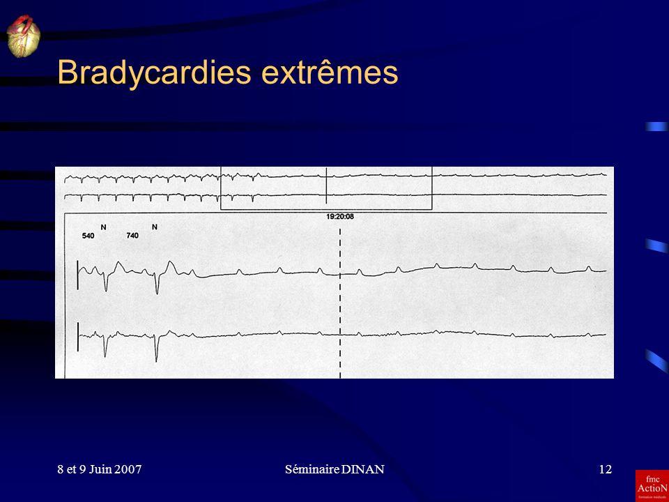 8 et 9 Juin 2007Séminaire DINAN12 Bradycardies extrêmes