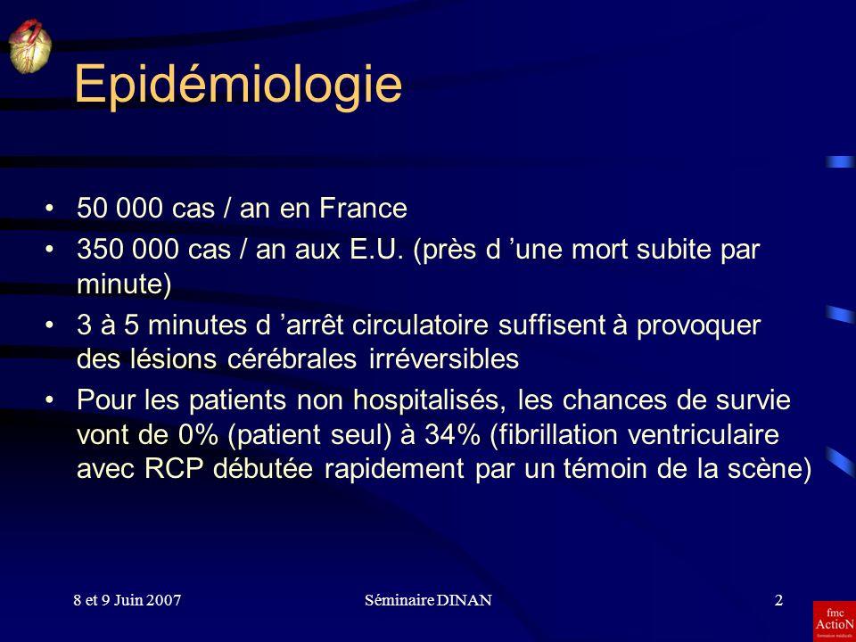8 et 9 Juin 2007Séminaire DINAN2 Epidémiologie 50 000 cas / an en France 350 000 cas / an aux E.U. (près d une mort subite par minute) 3 à 5 minutes d