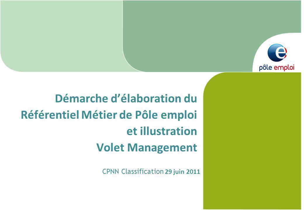 DGA RH 1 Démarche délaboration du Référentiel Métier de Pôle emploi et illustration Volet Management CPNN Classification 29 juin 2011