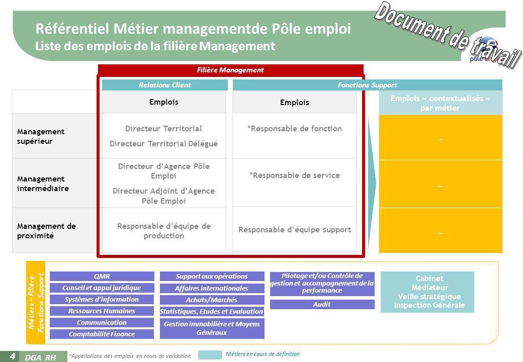 DGA RH 4 Référentiel Métier managementde Pôle emploi Liste des emplois de la filière Management Emplois Management supérieur Directeur Territorial Dir