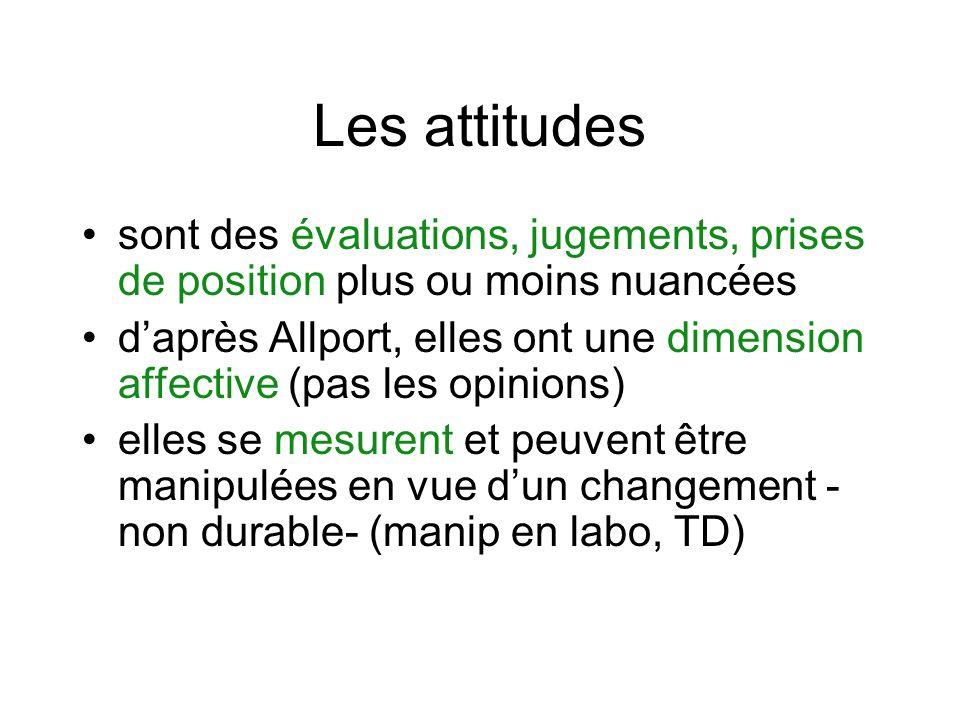 Les attitudes sont des évaluations, jugements, prises de position plus ou moins nuancées daprès Allport, elles ont une dimension affective (pas les opinions) elles se mesurent et peuvent être manipulées en vue dun changement - non durable- (manip en labo, TD)