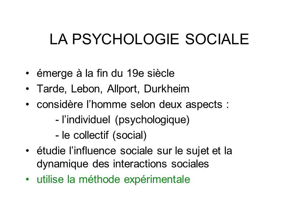 LA PSYCHOLOGIE SOCIALE émerge à la fin du 19e siècle Tarde, Lebon, Allport, Durkheim considère lhomme selon deux aspects : - lindividuel (psychologique) - le collectif (social) étudie linfluence sociale sur le sujet et la dynamique des interactions sociales utilise la méthode expérimentale