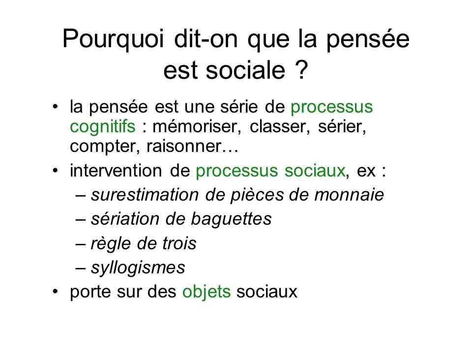 Pourquoi dit-on que la pensée est sociale ? la pensée est une série de processus cognitifs : mémoriser, classer, sérier, compter, raisonner… intervent