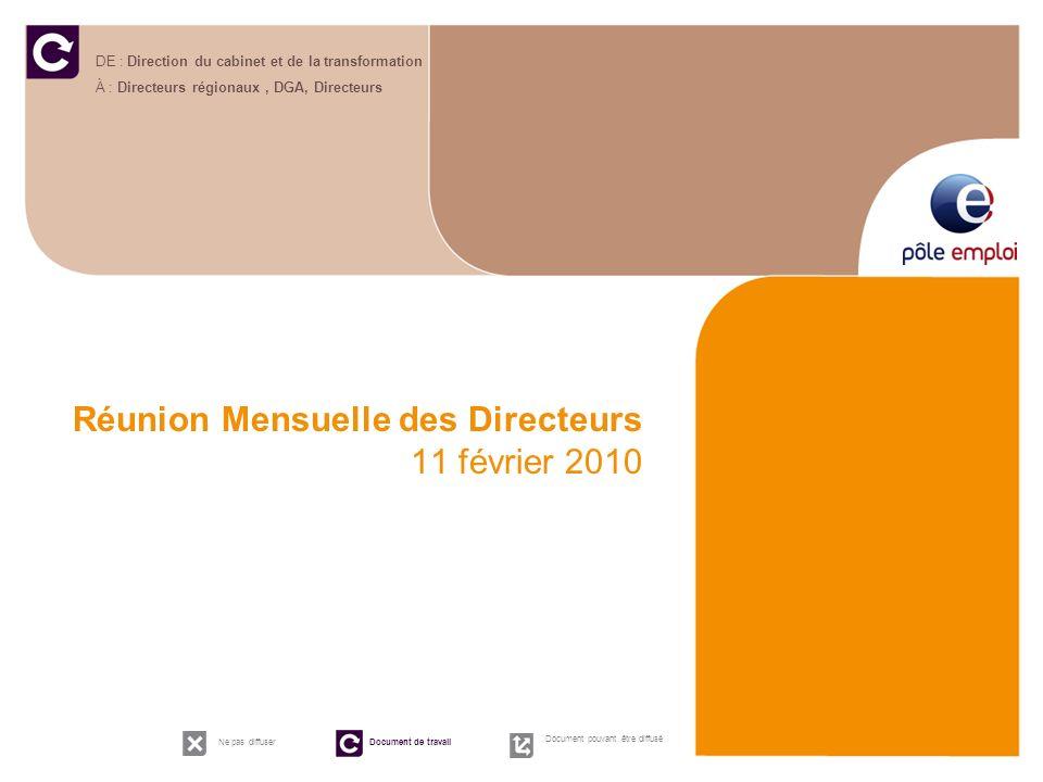 Réunion Mensuelle des Directeurs 11 février 2010 DE : Direction du cabinet et de la transformation À : Directeurs régionaux, DGA, Directeurs Ne pas di