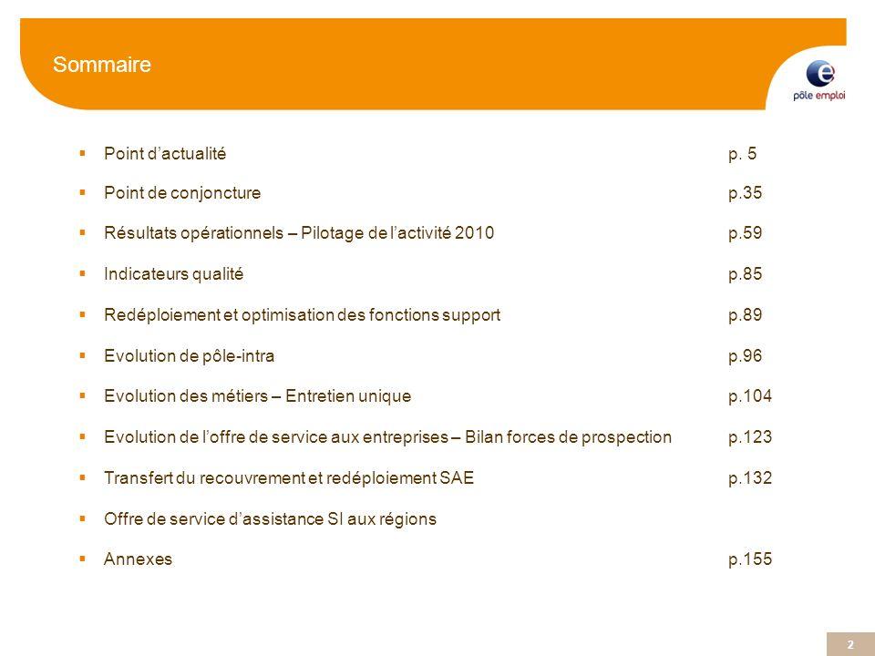2 Sommaire Point dactualitép. 5 Point de conjoncture p.35 Résultats opérationnels – Pilotage de lactivité 2010p.59 Indicateurs qualitép.85 Redéploieme