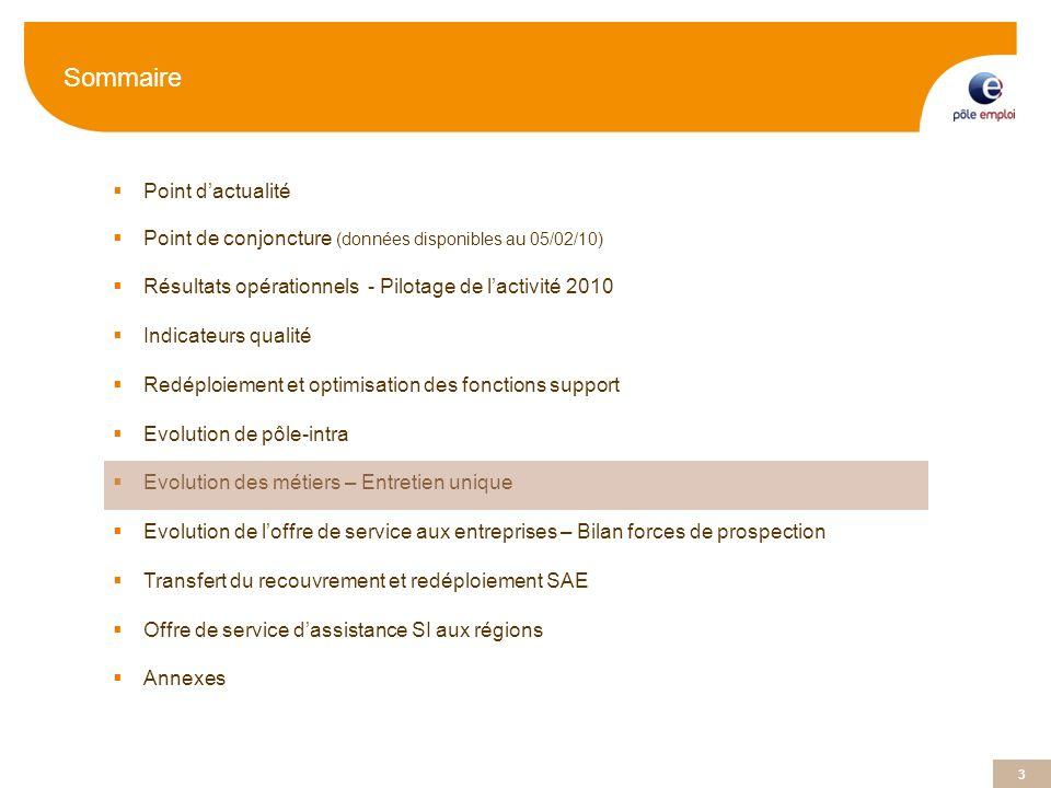 3 Sommaire Point dactualité Point de conjoncture (données disponibles au 05/02/10) Résultats opérationnels - Pilotage de lactivité 2010 Indicateurs qu