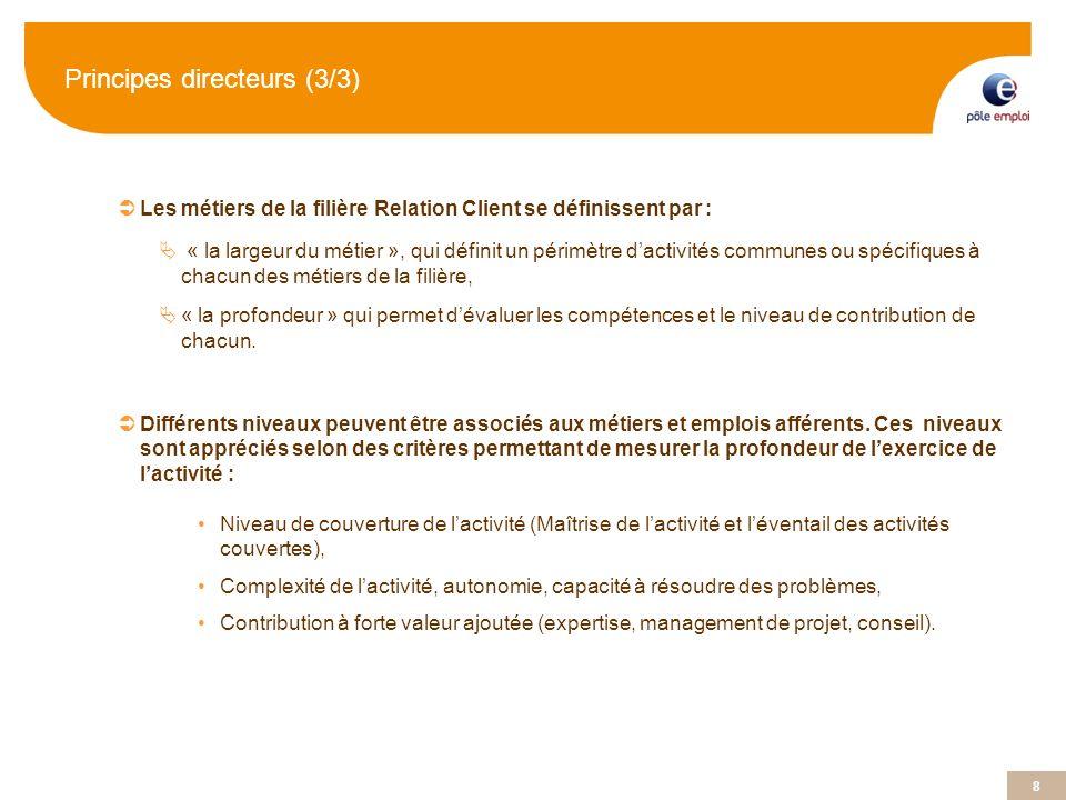 8 8 Principes directeurs (3/3) Les métiers de la filière Relation Client se définissent par : « la largeur du métier », qui définit un périmètre dacti