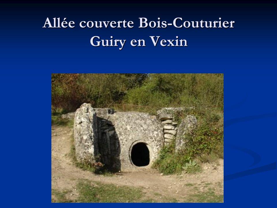 Les allées couvertes du bassin parisien Dans le bassin parisien, les allées couvertes sont généralement attribuées à la civilisation appelée « Seine-Oise-Marne » dont les témoignages ont des datations comprises entre 2600 ans et 1600 ans avant J.-C.