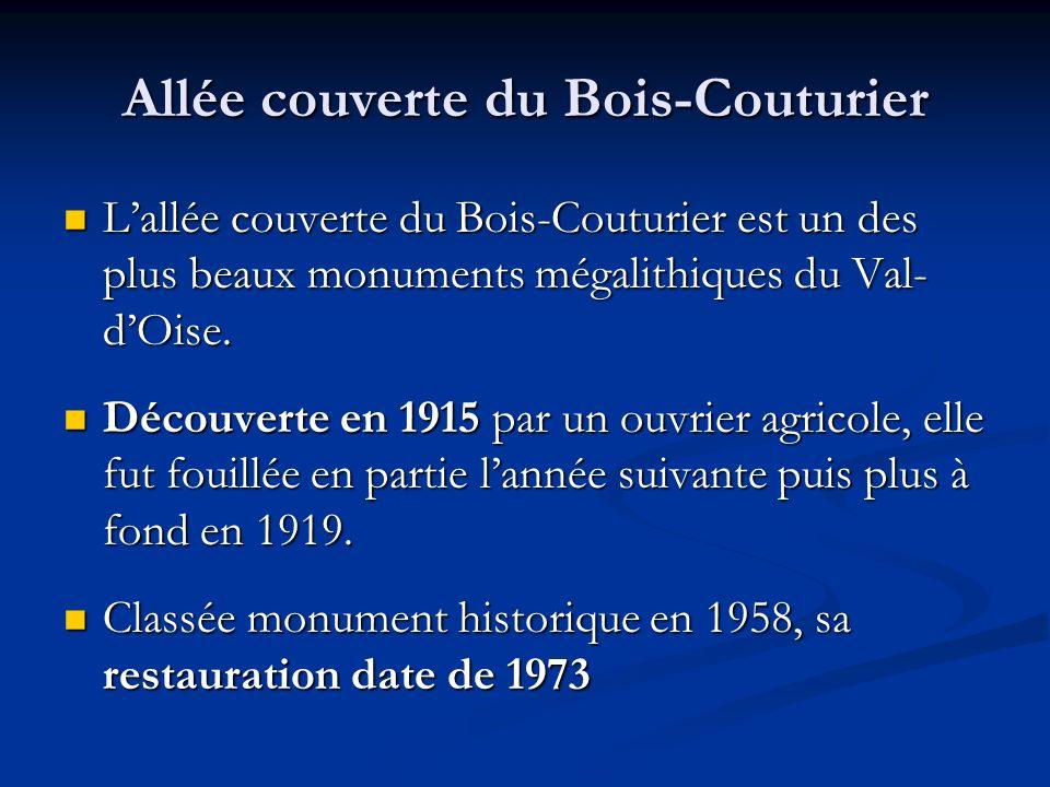 Allée couverte du Bois-Couturier Lallée couverte du Bois-Couturier est un des plus beaux monuments mégalithiques du Val- dOise. Lallée couverte du Boi