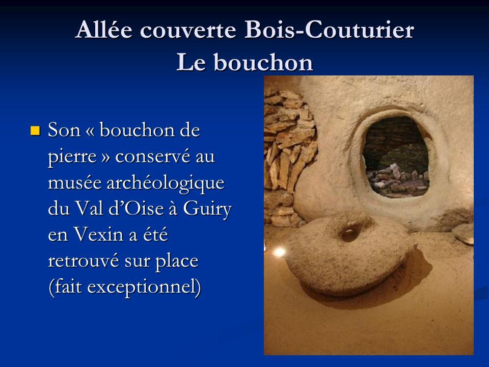 Allée couverte Bois-Couturier Le bouchon Son « bouchon de pierre » conservé au musée archéologique du Val dOise à Guiry en Vexin a été retrouvé sur pl