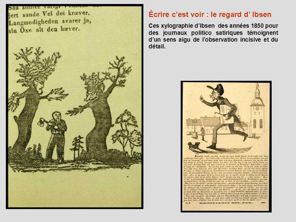 Écrire cest voir : le regard d Ibsen Ces xylographie dIbsen des années 1850 pour des journaux politico satiriques témoignent dun sens aigu de lobserva
