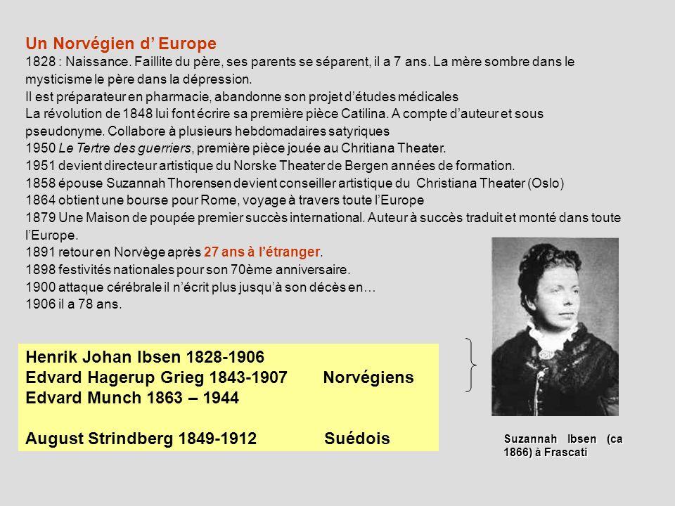 Un Norvégien d Europe 1828 : Naissance. Faillite du père, ses parents se séparent, il a 7 ans. La mère sombre dans le mysticisme le père dans la dépre
