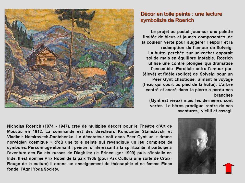 Décor en toile peinte : une lecture symboliste de Roerich Le projet au pastel joue sur une palette limitée de bleus et jaunes composantes de la couleu