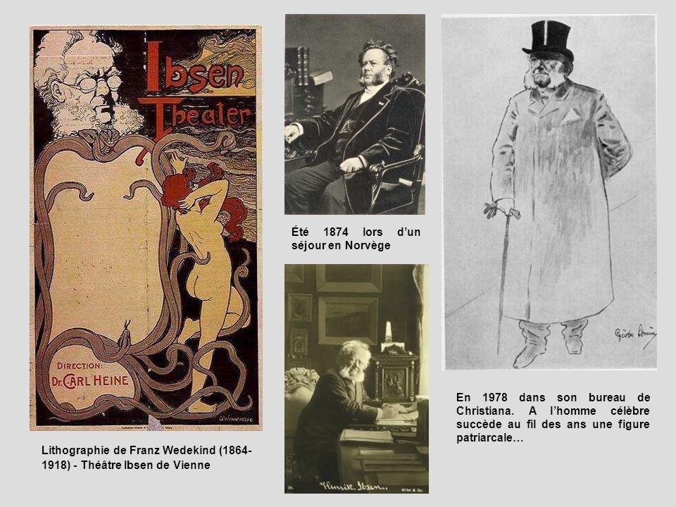 Lithographie de Franz Wedekind (1864- 1918) - Théâtre Ibsen de Vienne Été 1874 lors dun séjour en Norvège En 1978 dans son bureau de Christiana. A lho