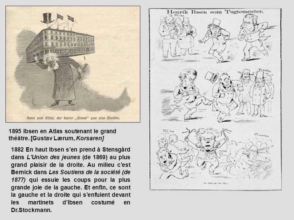 1895 Ibsen en Atlas soutenant le grand théâtre. [Gustav Lærum, Korsaren] 1882 En haut Ibsen sen prend à Stensgård dans L'Union des jeunes (de 1869) au