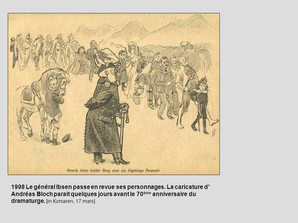 1898 Le discours remarqué du professeur Peter Hansen´s lors de la célébration du 70 ème anniversaire dIbsen à Copenhague.