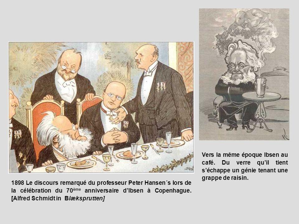 1898 Le discours remarqué du professeur Peter Hansen´s lors de la célébration du 70 ème anniversaire dIbsen à Copenhague. [Alfred Schmidt in Blæksprut