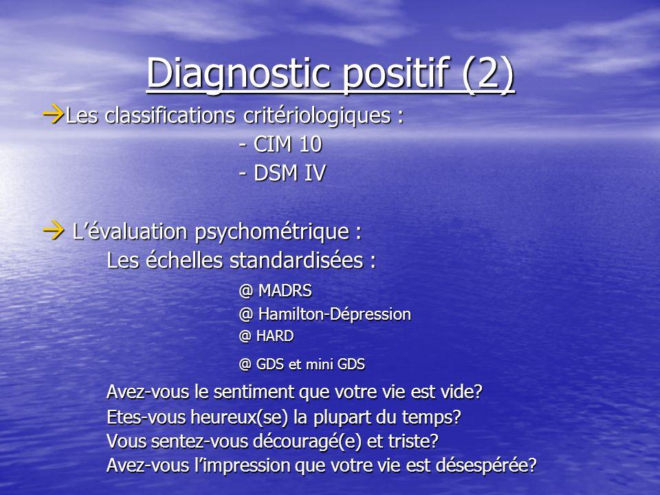 Diagnostic positif (2) Les classifications critériologiques : Les classifications critériologiques : - CIM 10 - DSM IV Lévaluation psychométrique : Lé