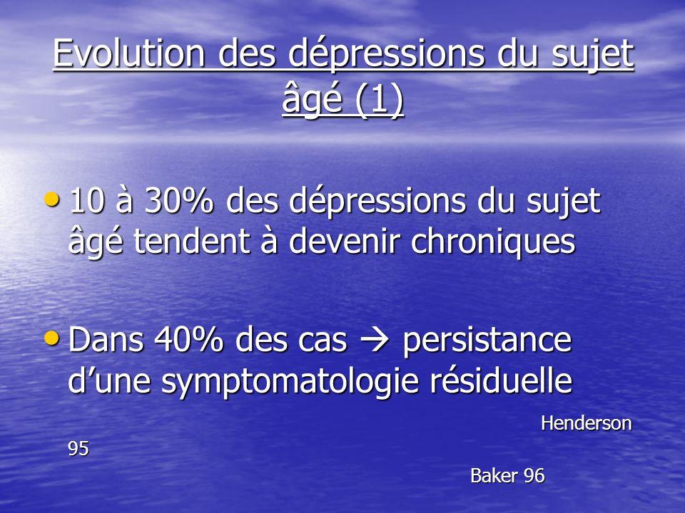 Evolution des dépressions du sujet âgé (1) 10 à 30% des dépressions du sujet âgé tendent à devenir chroniques 10 à 30% des dépressions du sujet âgé te