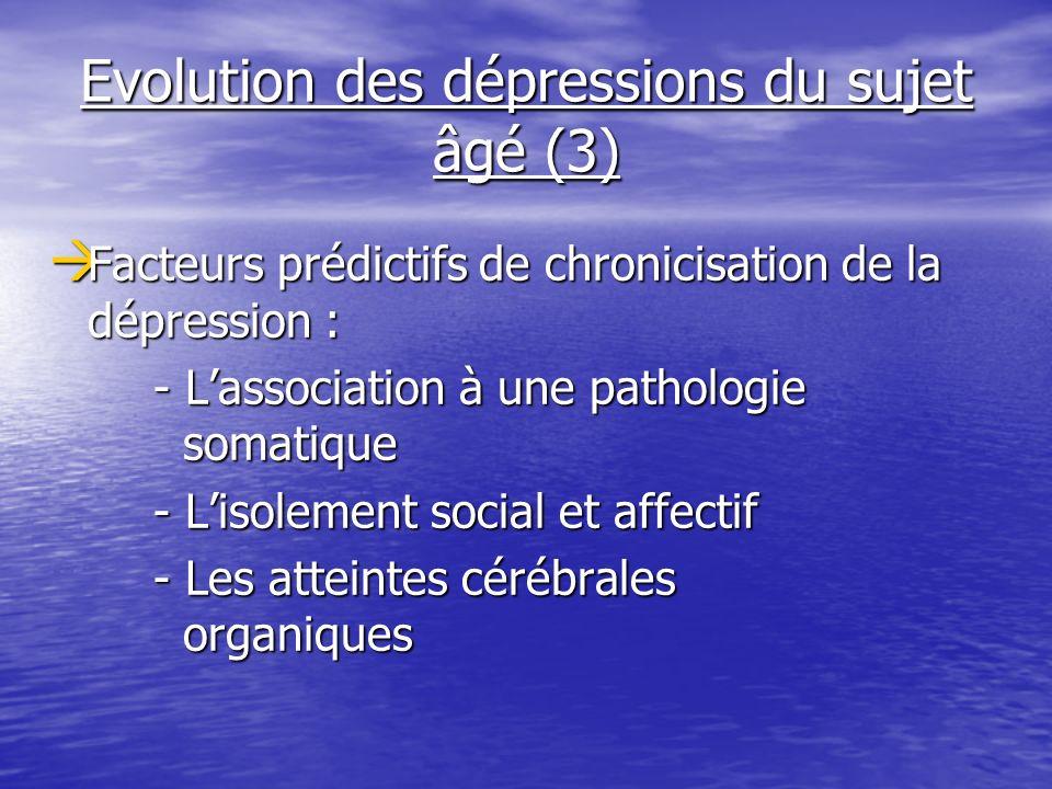 Evolution des dépressions du sujet âgé (3) Facteurs prédictifs de chronicisation de la dépression : Facteurs prédictifs de chronicisation de la dépres